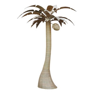 Large Wicker Palm Tree with Coconut For Sale