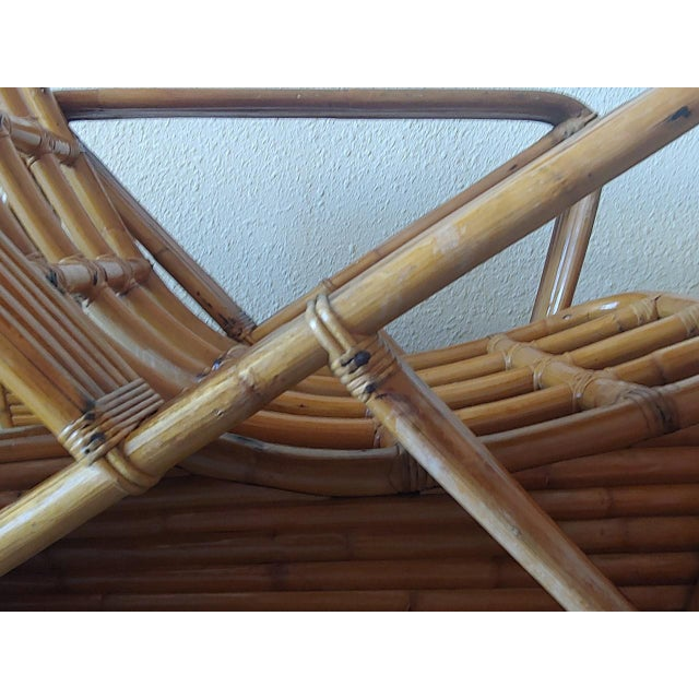 Mid 20th Century Paul Frankl Style Swoop Seat Rattan Lounge Chair For Sale In Jacksonville, FL - Image 6 of 13