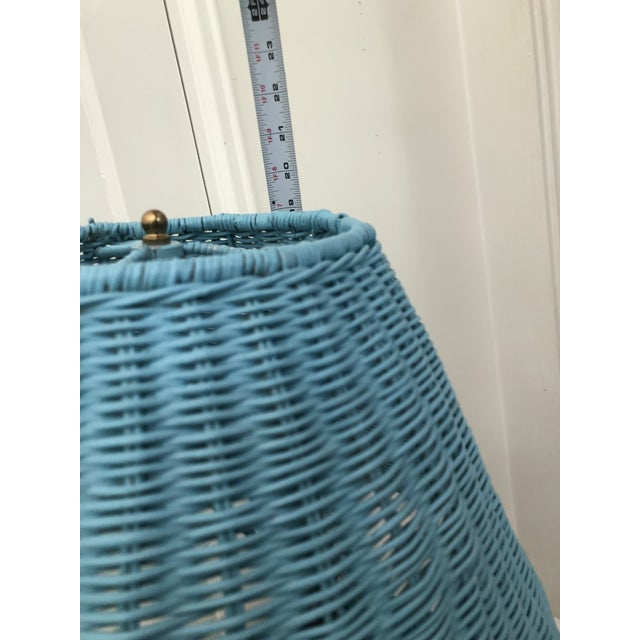 Blue Wicker Urn Lamp and Shade For Sale In Atlanta - Image 6 of 9