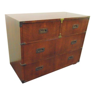 Henredon Mid Century Fruitwood Campaign Dresser For Sale