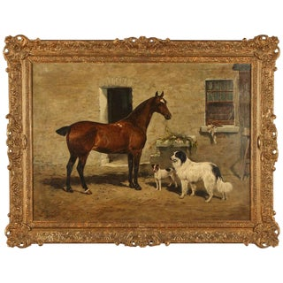 Scene with Horse and two Dogs, 1894 by John Emms For Sale