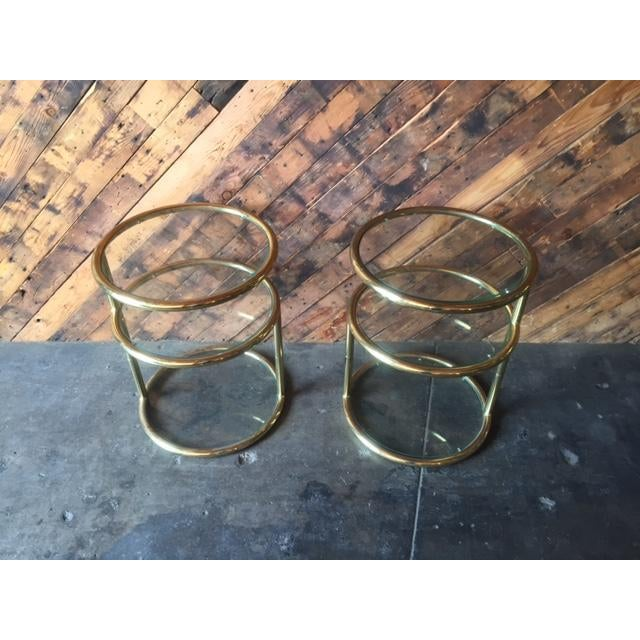 Mid-Century Modern Vintage Swivel Brass Glass Side Tables - A Pair For Sale - Image 3 of 8