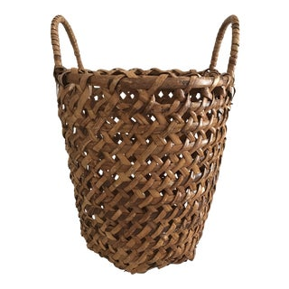 Tall Wide Weave Textured Basket With Handles For Sale