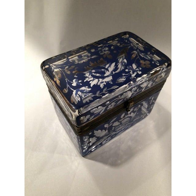 Blue Antique Bohemian Glass Sugar Casket/ Jewelry/Vanity/Trinket Box For Sale - Image 8 of 13