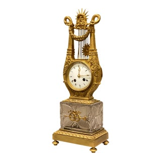 Charles X Cut Glass and Ormolu Mantle Clock For Sale