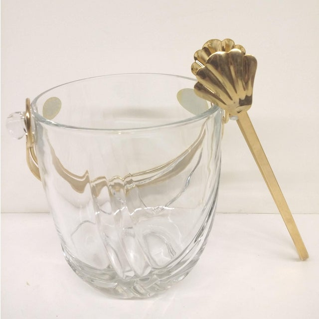 Hollywood Regency Vintage Italian Murano Glass Gold Plate Ice Bucket & Tongs For Sale - Image 3 of 8