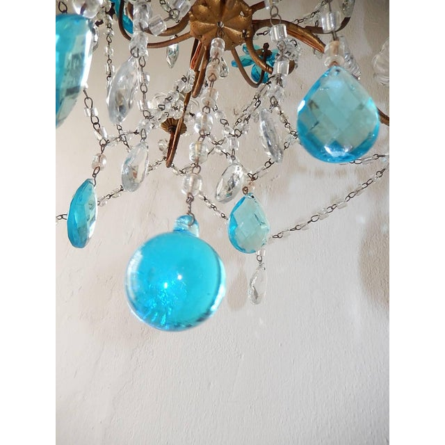 1920s 1920 French Bagues Style Aqua Flowers Crystal Chandelier For Sale - Image 5 of 10