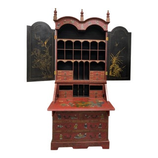 20th Century Chinoiserie Red Lacquered Bureau Bookcase For Sale