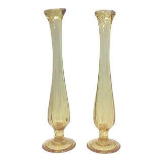 Mid-Century Petite Yellow Glass Bud Vases - A Pair