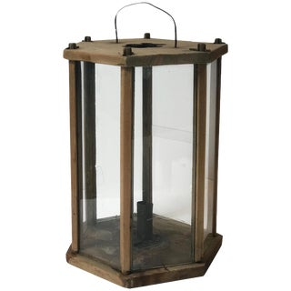 Late 19th Century Swedish Hexagonal Wooden Lantern For Sale