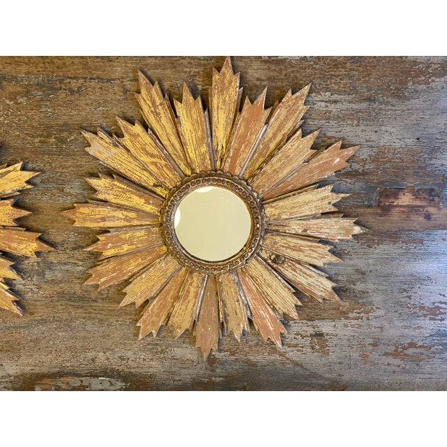 Pair of Italian Sunburst Mirrors With Wood Rays For Sale - Image 11 of 12