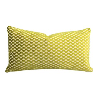 """Romo Parada Collection Pepino in Cactus Jacquard Velvet Geometric Lime Green Lumbar Pillow Cover -10.5"""" X 20"""" For Sale"""