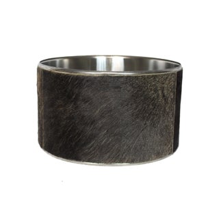 Animal Print Spotted Buffalo Hide and Chrome Drum Shade Preview