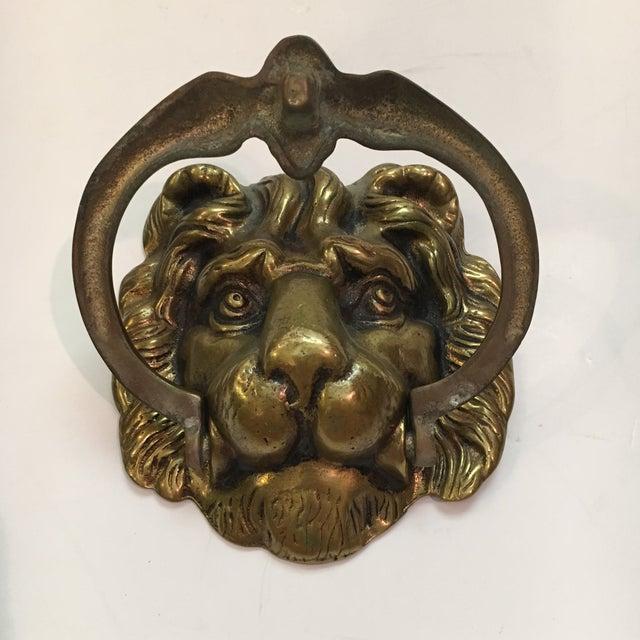 Vintage Brass Lion Head Door Knocker For Sale In Houston - Image 6 of 7