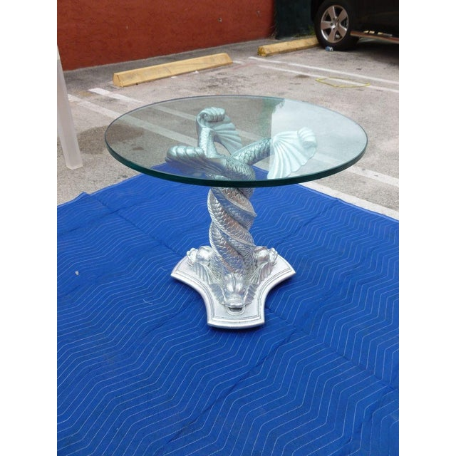 Chic Vintage Italianate Silver Leafed Carved Wood Table Intertwined Dolphins For Sale - Image 4 of 9