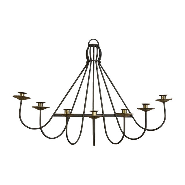 Mid Century Iron and Brass Wall Sconce For Sale