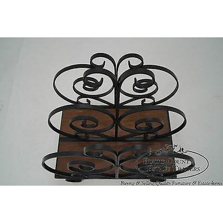 Custom Ornate Scrolled Wrought Iron Spanish Style Magazine Stand For Sale - Image 11 of 13