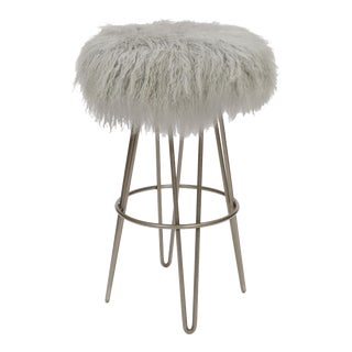 Curly Hairpin Swivel Barstool, Grey For Sale