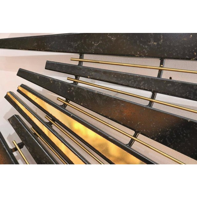 Mid-Century Modern Mid-Century Modern 1974 Curtis Jere Sunburst Wall Sculpture in Brass and Black For Sale - Image 3 of 7