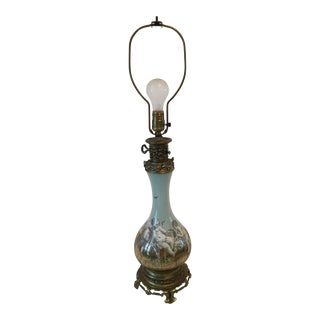 Hollywood Regency Reverse Painted Cherub Lamp For Sale
