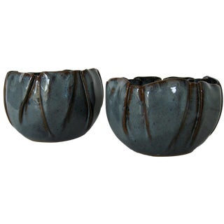 Soft-Pleated Ceramic Bowls - A Pair For Sale