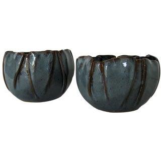 Soft-Pleated Ceramic Bowls - A Pair