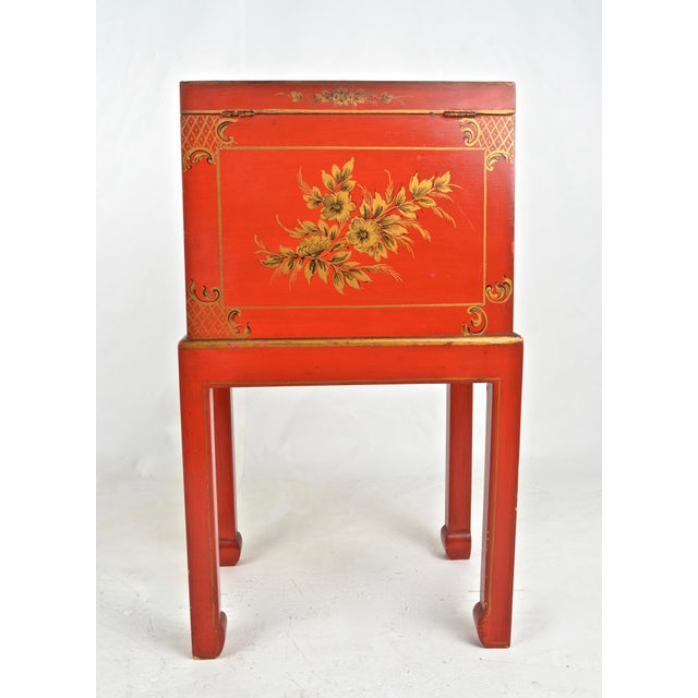 Orange Chinoiserie Box on Stand For Sale - Image 8 of 13