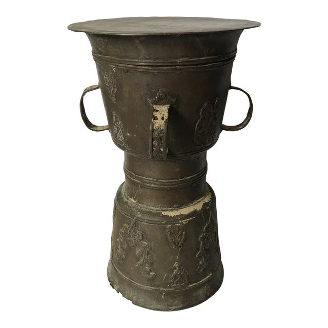 Antique Bronze Morrocan Rain Drum Stool For Sale