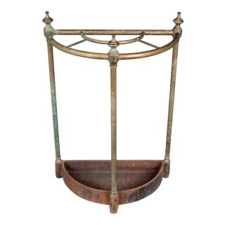 French Brass and Cast Iron Umbrella Stand For Sale