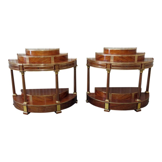 Pair of Russian Regency Style Demilune Consoles For Sale
