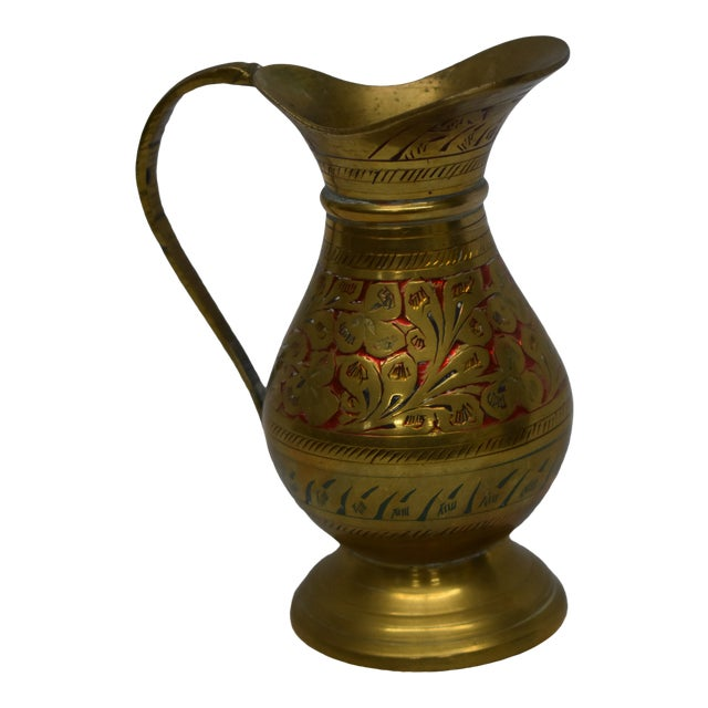 Vintage Indian Brass Vase For Sale