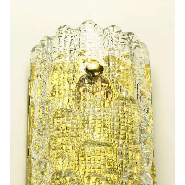 Pair Carl Fagerlund For Orrefors Glass & Brass Sconces - Image 8 of 10