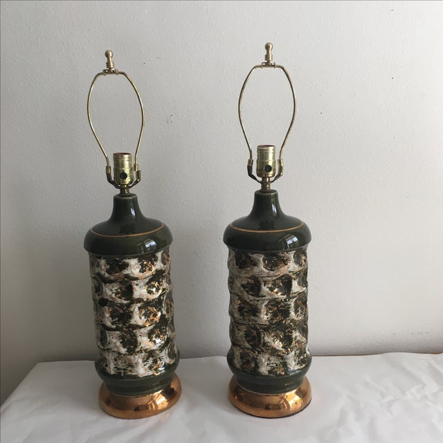 Forest & Gold Hollywood Regency Lamps- A Pair - Image 2 of 4