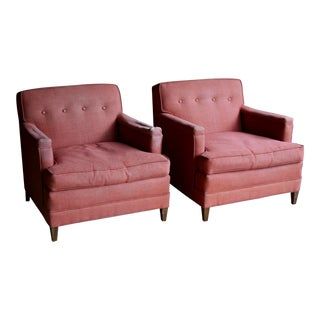 1950s Tufted Lounge Chairs by Baker, a Pair For Sale