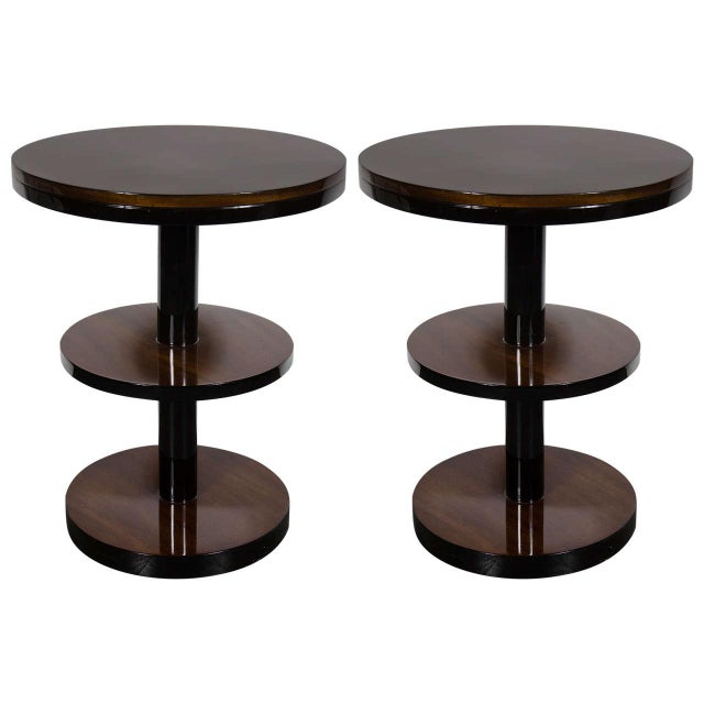 Brown Machine Age Pair of Art Deco Three-Tier Column-Form Occasional Tables For Sale - Image 8 of 8