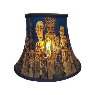 Vintage Polynesian Tiki Themed Lampshade For Sale