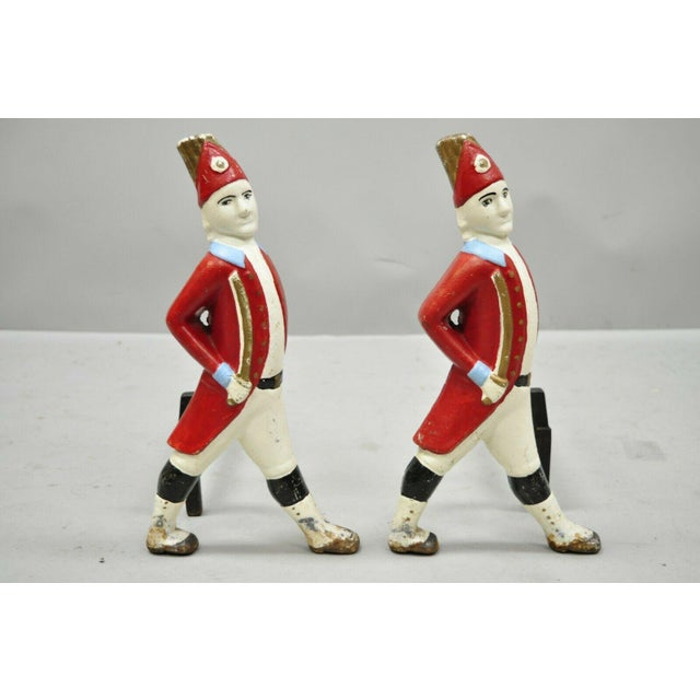 Vintage Hessian Soldier Fireplace Tool Set and Pair of Andirons in Red White & Blue. Item features include a pair of...