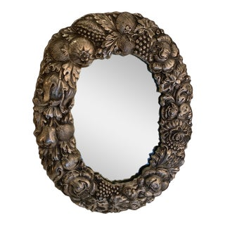Silver Plated Repousee Oval Tabletop Mirror For Sale