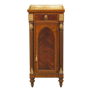 Neoclassical Maitland Smith Mahogany 1 Door Cabinet For Sale
