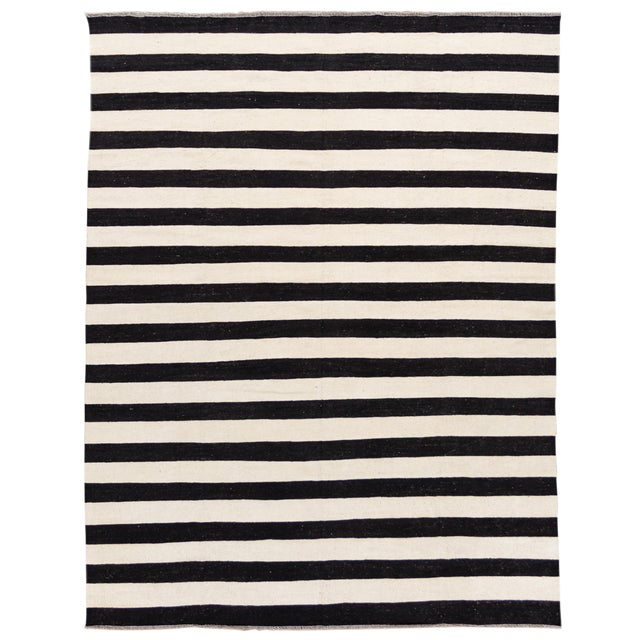Contemporary Black and White Striped Kilim Flat-Weave Wool Rug For Sale
