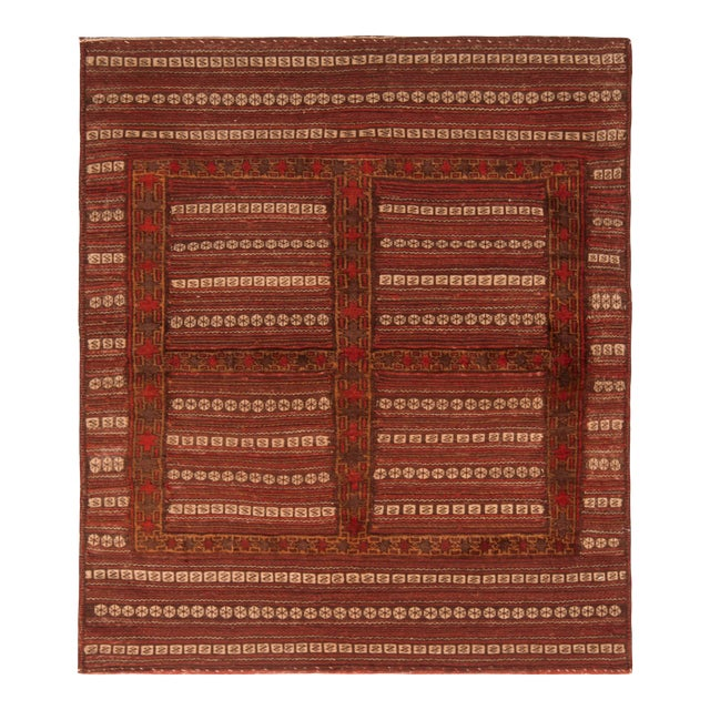 Antique Geometric Red and Brown Wool Kilim Rug For Sale