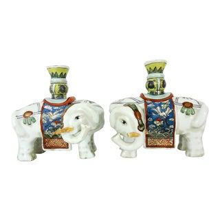 Early 20th Century Export White Elephant Candleholders / Joss Stick Holders - a Pair For Sale