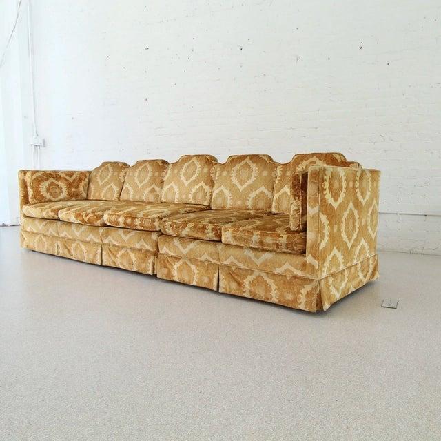 1970s Vintage Damask Two-Piece Velvet Sofa For Sale - Image 10 of 10