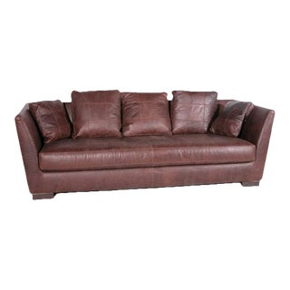 1990s Embossed Leather Tuxedo Style Sofa With Single Cushion and Throw Pillow Back For Sale