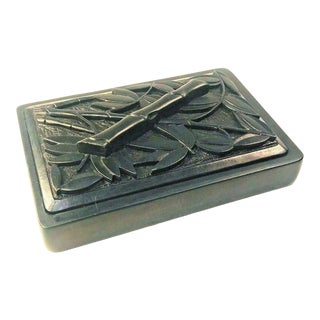 Hand Carved Japanese Ink Stone With Bamboo Motif For Sale