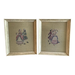 Victorian Dancing Couple Needlepoint Art - A Pair