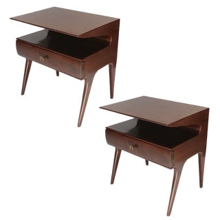 Adesso Imports Mid-Century Modern Two Shelf Nightstands - a Pair For Sale