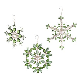 Green & Clear Crystal Snowflake Ornaments - Set of 3 For Sale