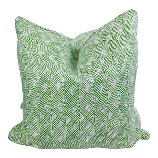 """Christopher Farr Cloth """"Belge"""" in Green 22"""" Pillows-A Pair For Sale"""