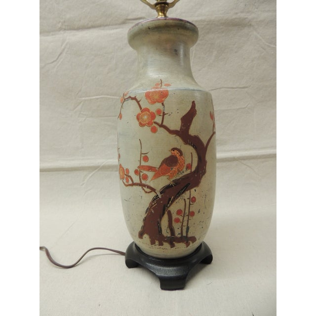 Asian Japanese Ceramic Painted Lamp For Sale - Image 3 of 5